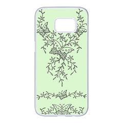 Illustration Of Butterflies And Flowers Ornament On Green Background Samsung Galaxy S7 Edge White Seamless Case by BangZart