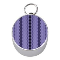 Zig Zag Repeat Pattern Mini Silver Compasses