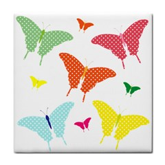 Beautiful Colorful Polka Dot Butterflies Clipart Tile Coasters by BangZart