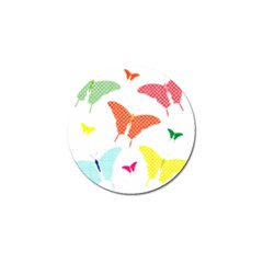 Beautiful Colorful Polka Dot Butterflies Clipart Golf Ball Marker by BangZart
