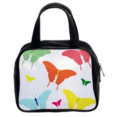 Beautiful Colorful Polka Dot Butterflies Clipart Classic Handbags (2 Sides)