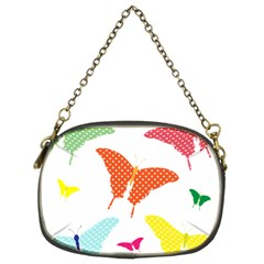 Beautiful Colorful Polka Dot Butterflies Clipart Chain Purses (two Sides)  by BangZart