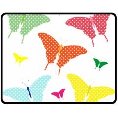 Beautiful Colorful Polka Dot Butterflies Clipart Fleece Blanket (medium)  by BangZart