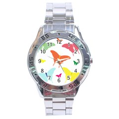 Beautiful Colorful Polka Dot Butterflies Clipart Stainless Steel Analogue Watch by BangZart