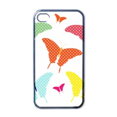 Beautiful Colorful Polka Dot Butterflies Clipart Apple Iphone 4 Case (black) by BangZart