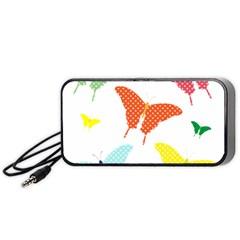 Beautiful Colorful Polka Dot Butterflies Clipart Portable Speaker (black)