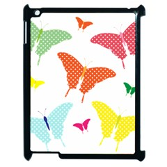 Beautiful Colorful Polka Dot Butterflies Clipart Apple Ipad 2 Case (black) by BangZart