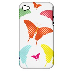 Beautiful Colorful Polka Dot Butterflies Clipart Apple Iphone 4/4s Hardshell Case (pc+silicone)