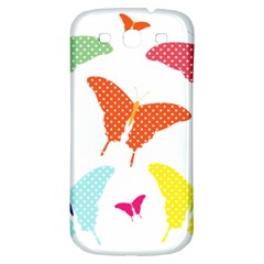 Beautiful Colorful Polka Dot Butterflies Clipart Samsung Galaxy S3 S Iii Classic Hardshell Back Case by BangZart