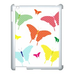 Beautiful Colorful Polka Dot Butterflies Clipart Apple Ipad 3/4 Case (white)