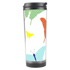 Beautiful Colorful Polka Dot Butterflies Clipart Travel Tumbler