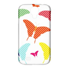 Beautiful Colorful Polka Dot Butterflies Clipart Samsung Galaxy S4 Classic Hardshell Case (pc+silicone) by BangZart