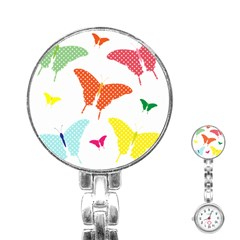 Beautiful Colorful Polka Dot Butterflies Clipart Stainless Steel Nurses Watch by BangZart