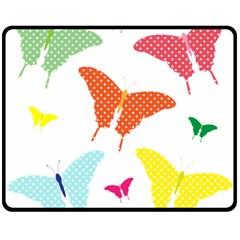 Beautiful Colorful Polka Dot Butterflies Clipart Double Sided Fleece Blanket (medium)