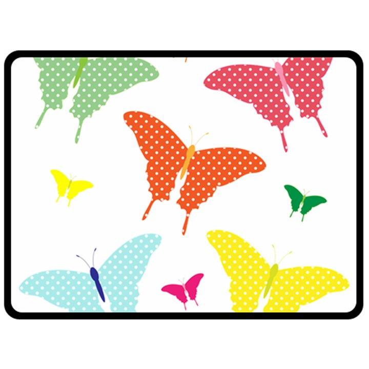 Beautiful Colorful Polka Dot Butterflies Clipart Double Sided Fleece Blanket (Large)