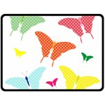 Beautiful Colorful Polka Dot Butterflies Clipart Double Sided Fleece Blanket (Large)  80 x60 Blanket Back
