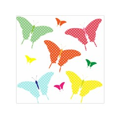 Beautiful Colorful Polka Dot Butterflies Clipart Small Satin Scarf (square) by BangZart