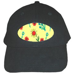 Flowers Fabric Design Black Cap by BangZart