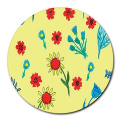 Flowers Fabric Design Round Mousepads by BangZart