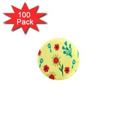 Flowers Fabric Design 1  Mini Magnets (100 Pack)  by BangZart