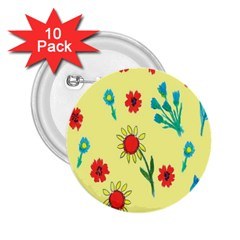 Flowers Fabric Design 2 25  Buttons (10 Pack)