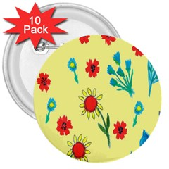 Flowers Fabric Design 3  Buttons (10 Pack)