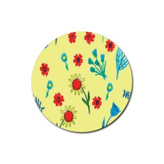 Flowers Fabric Design Rubber Round Coaster (4 Pack)