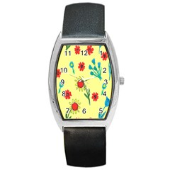 Flowers Fabric Design Barrel Style Metal Watch by BangZart