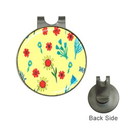 Flowers Fabric Design Hat Clips With Golf Markers
