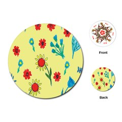 Flowers Fabric Design Playing Cards (round)