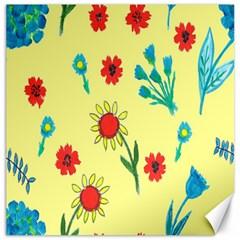Flowers Fabric Design Canvas 12  X 12