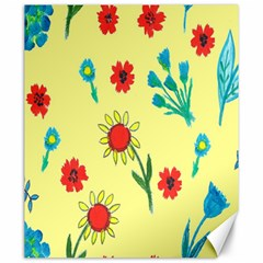 Flowers Fabric Design Canvas 20  X 24   by BangZart