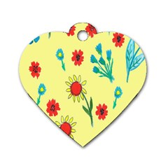 Flowers Fabric Design Dog Tag Heart (one Side) by BangZart
