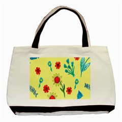 Flowers Fabric Design Basic Tote Bag (two Sides)