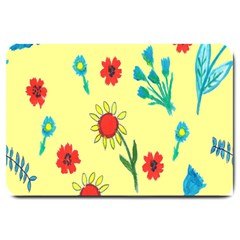 Flowers Fabric Design Large Doormat  by BangZart