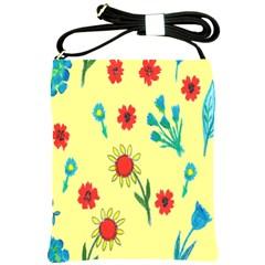 Flowers Fabric Design Shoulder Sling Bags