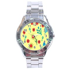 Flowers Fabric Design Stainless Steel Analogue Watch by BangZart