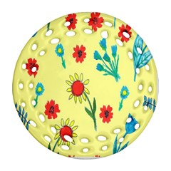 Flowers Fabric Design Round Filigree Ornament (two Sides) by BangZart
