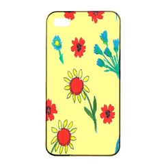 Flowers Fabric Design Apple Iphone 4/4s Seamless Case (black) by BangZart