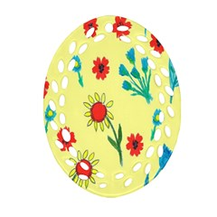 Flowers Fabric Design Oval Filigree Ornament (two Sides)