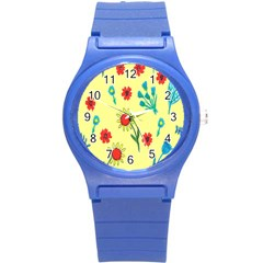 Flowers Fabric Design Round Plastic Sport Watch (s) by BangZart