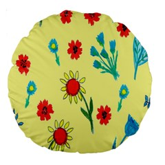 Flowers Fabric Design Large 18  Premium Round Cushions by BangZart