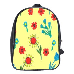 Flowers Fabric Design School Bags (xl)