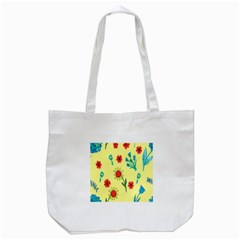 Flowers Fabric Design Tote Bag (white) by BangZart
