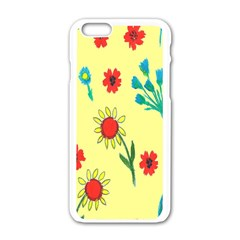 Flowers Fabric Design Apple Iphone 6/6s White Enamel Case by BangZart