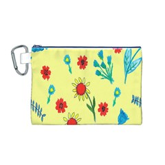 Flowers Fabric Design Canvas Cosmetic Bag (m) by BangZart