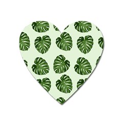 Leaf Pattern Seamless Background Heart Magnet by BangZart