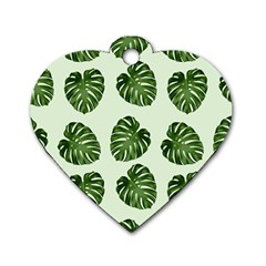 Leaf Pattern Seamless Background Dog Tag Heart (one Side) by BangZart
