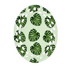 Leaf Pattern Seamless Background Oval Filigree Ornament (two Sides) by BangZart