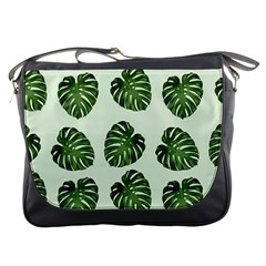 Leaf Pattern Seamless Background Messenger Bags